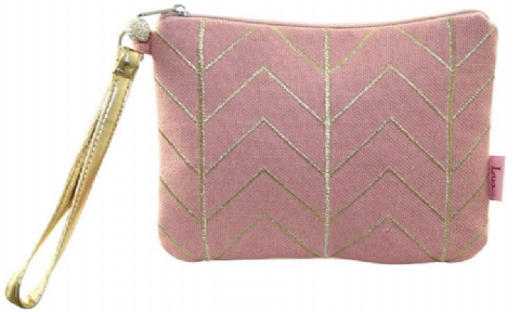 CHEVRON EMBROIDERED WRIST PURSE PINK /GOLD